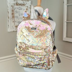 Justice Gold Sequins Unicorn Backpack